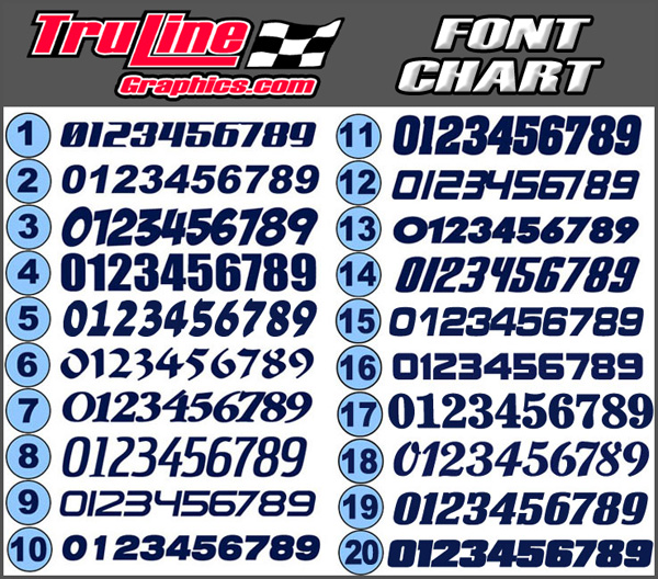Race Car Numbers 2 Color Vinyl Number Kit Truline