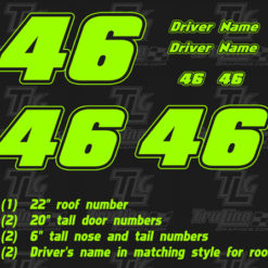single color racing numbers