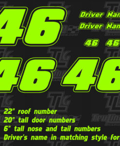 single color racing numbers