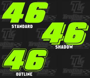 1 color vinyl racing numbers