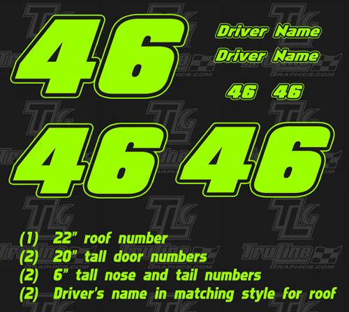 Race Car Numbers 2 Digit 1 Color Kit Truline Graphics