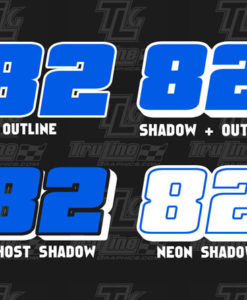 2 color racing number styles